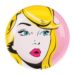 8 assiettes Pop Art roses