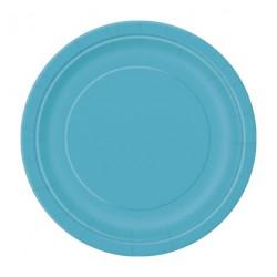 8 assiettes ronde  bleu lagon