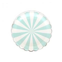 Assiettes motif rayé pacqua et blanc bord découpe arrondi - Argent