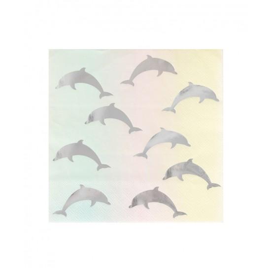 16 serviettes en papier - dauphin