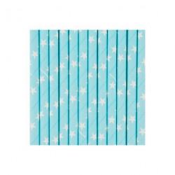 25 pailles bleues étoiles blanches