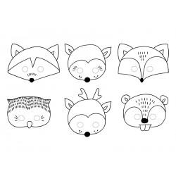 6 masques en papier-Animaux d la forêt