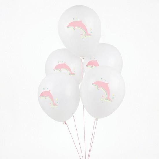 5 ballons imprimés dauphins