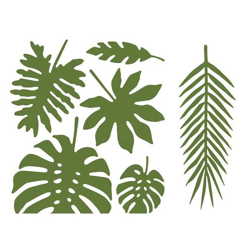 decorations en papier feuilles tropicales happy family