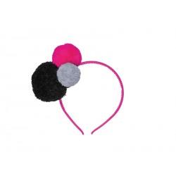 Headband - Pompons -Gris Fuchsia Noir
