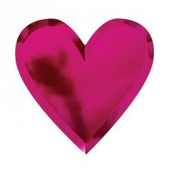 Assiette coeur mylar rose