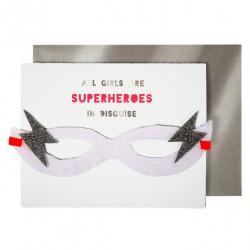 Carte masque Superhéroine Meri Meri