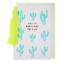 Carte Cactus néon Happy Birthday