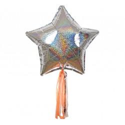 6 ballons mylar étoile holographique et tassel