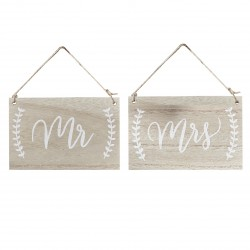 Signalétique Mr and Mrs en bois