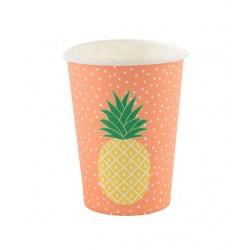 8 gobelets ananas-corail