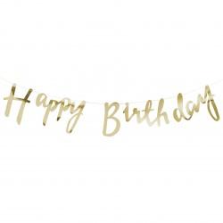 Guirlande Happy Birthday or métalisé