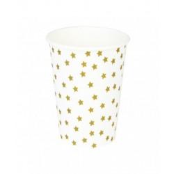 8 gobelets en carton - étoile dorée