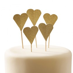 10 toppers - Coeur glitter or
