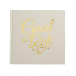 Guest book livre d'or ivoire et or