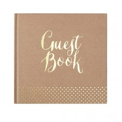 Guest book livre d'or kraft et or