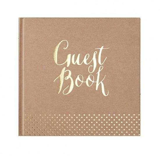 Guest book livre d'or kraft et or