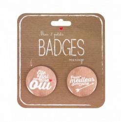 Set de deux badges mariage Oui