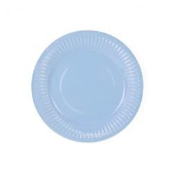 6 assiettes bleu ciel
