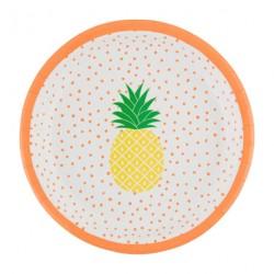 8 assiettes ananas-corail
