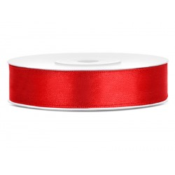 Ruban satin 12mm Rouge -25m