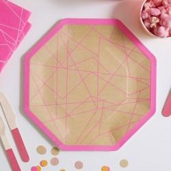 8 assiettes kraft et rose fluo géométrique