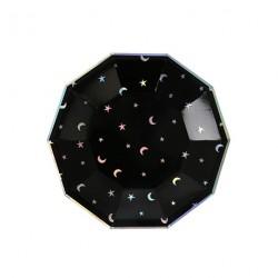 8 assiettes lune et étoile holographique
