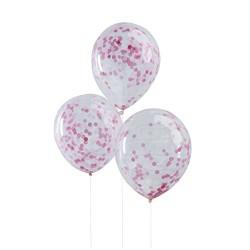 5 ballons confetti rose