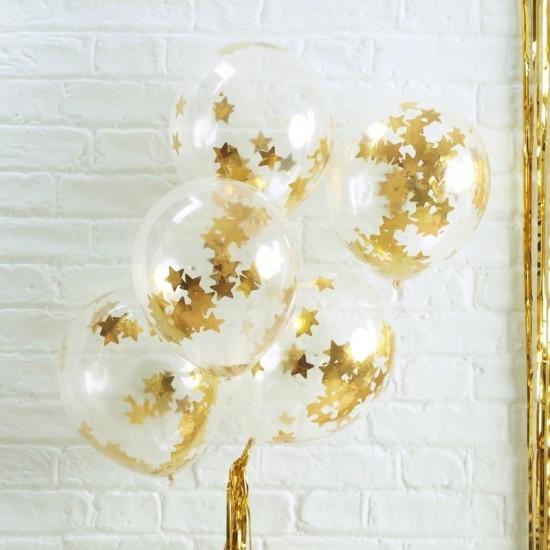 5 ballons transparents confettis étoiles dorées