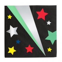16 serviettes - étoiles disco
