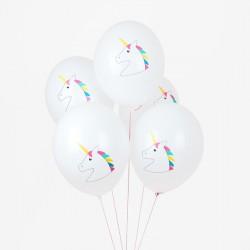 5 ballons tatoués - Licorne