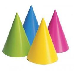 8 mini chapeaux pointus fluo