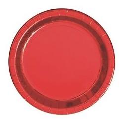 8 assiettes rouge métalisé