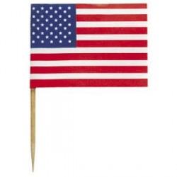 30 Mini Piques Drapeaux USA