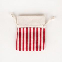 5 pochons à rayures rouges en coton 8x10cm