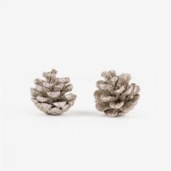 2 décorations de Noël - Pomme de pin glitter cuivre