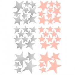 Box stickers étoiles argent et rose poudré
