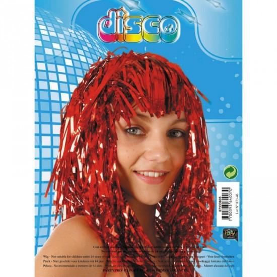 1 perruque disco rouge