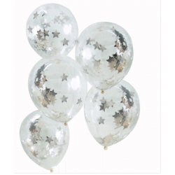 5 ballons transparents confettis  étoiles argent