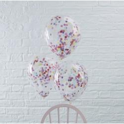 5 ballons remplis de confettis multicolores