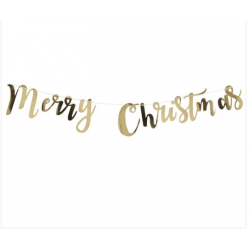 1 guirlande Merry Christmas dorée métallique