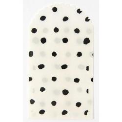 6 grandes pochettes blanc moucheté noir