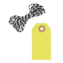 10 étiquettes cadeaux jaune fluo