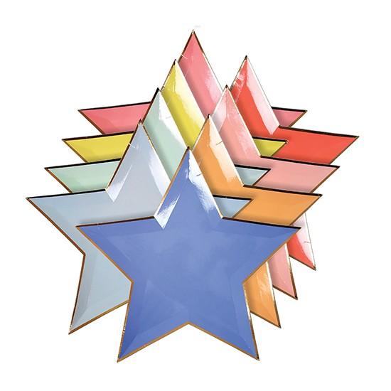 8 assiettes étoile colorée Jazzy