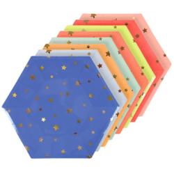 8 assiettes étoile Jazzy colorées