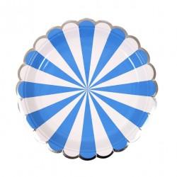 8 petites assiettes - Rayé bleu roi et blanc