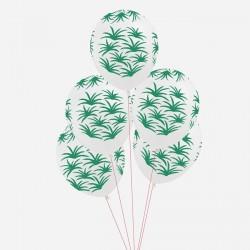 5 ballons imprimés feuilles vertes