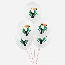 5 ballons imprimés toucan