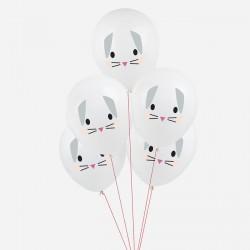 5 ballons tatoués - Mini lapin