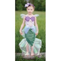 Robe sirène et bandeau bleu-lilla 5-6 ans